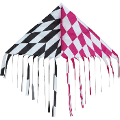 Op-Art Pink Black Fringe Delta Kite