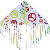 White Peace Signs Fringe Delta Kite